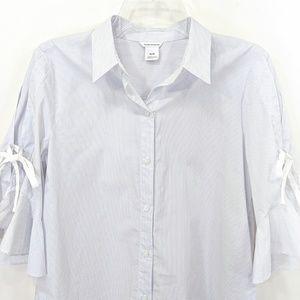 Club Monaco Tops - Club Monaco Striped Ruffle Sleeve Tie Shirt